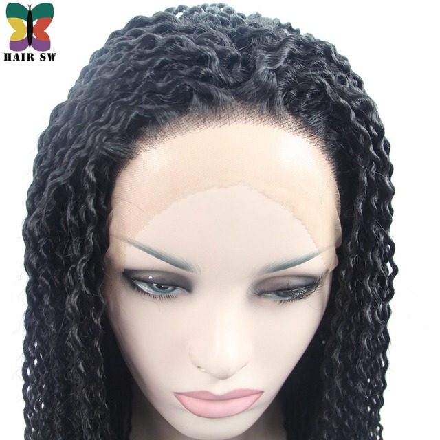 Hair Sw Long Kinky Curly Twist Out Crochet Lace Front Wig Natural