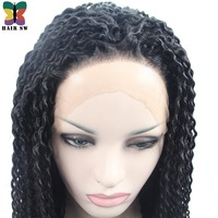 HAIR SW Long Kinky Curly Twist Out Crochet Lace Front Wig Natural Afro Fully Handbraid African Synthetic Braid For Afro Women