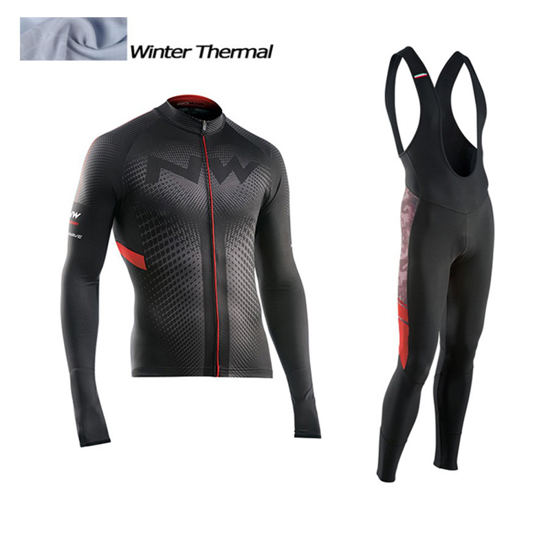 2017 NW Winter Thermal Fleece Cycling Jersey Long Sleeve Jerseys Cycling Bib Pants Set Bike Bicycle Cycling Clothes 3 Color veobike men long sleeves hooded waterproof windbreak sunscreen outdoor sport raincoat bike jersey bicycle cycling jacket