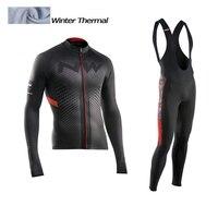 2017 NW Winter Thermal Fleece Cycling Jersey Long Sleeve Jerseys Cycling Bib Pants Set Bike Bicycle