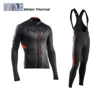 2017 NW Winter Thermal Fleece Cycling Jersey Long Sleeve Jerseys Cycling Bib Pants Set Bike Bicycle