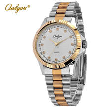 Onlyou Marca de Lujo Relojes de Las Mujeres de Los Hombres de Negocios Reloj de Acero Inoxidable De Oro Con Diamantes Reloj de Señoras Vestido Reloj Despertador 8807