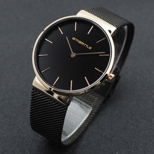 Black Fashion Simple Man Watches Woman Luxury Unisex Brand Business Mesh Stainless Steel Band Japan Quartz Thin Waterproof 2018