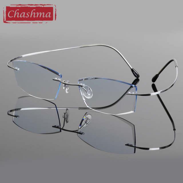 87b5ce67e44 Online Shop Chashma Brand B Titanium Ultra Light Tint Glass Men Stylish Eye  Glasses Frame Diamond Trimmed Colored Lenses Men Eyeglasses
