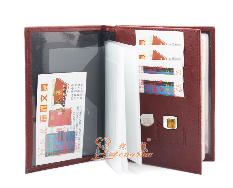 Zongshu multifunction PU leather Passport Holder Drivers License Document Card Cover Certificate Protect Cover (Custom accept) pu leather menu holder restautant menu covers custom leather folders pvc page with high quality accept customized order
