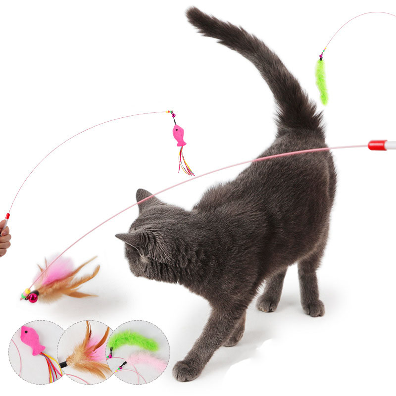 Lovely Pet Teaser Feather Interactive Toy Wire Wand For Cat Kitten