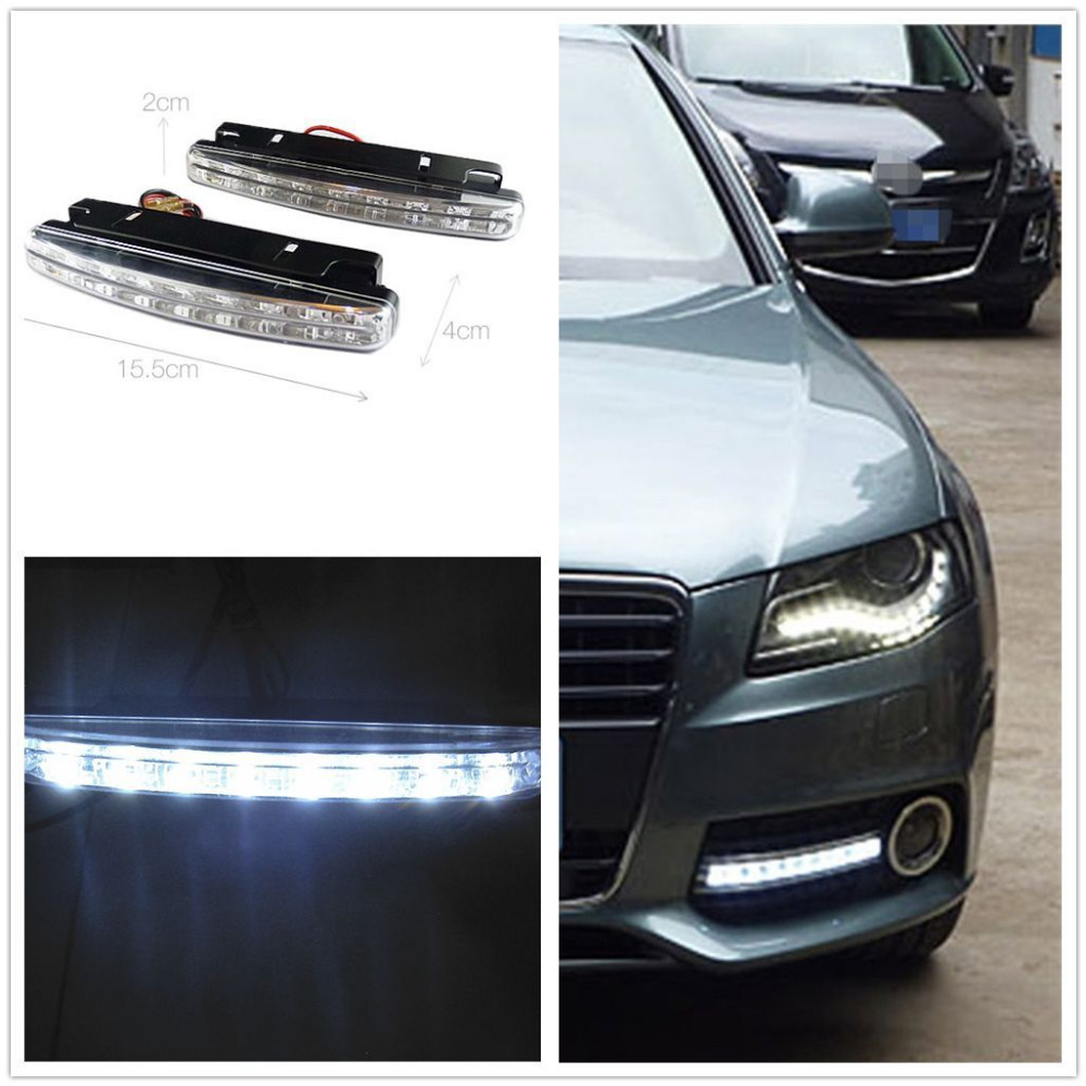 BBQ@FUKA 2pcs 8 LED Euro Daytime Running Light DRL Daylight Fog Lamp Day Lights Fit For Audi BMW VW Ford ect car accessory