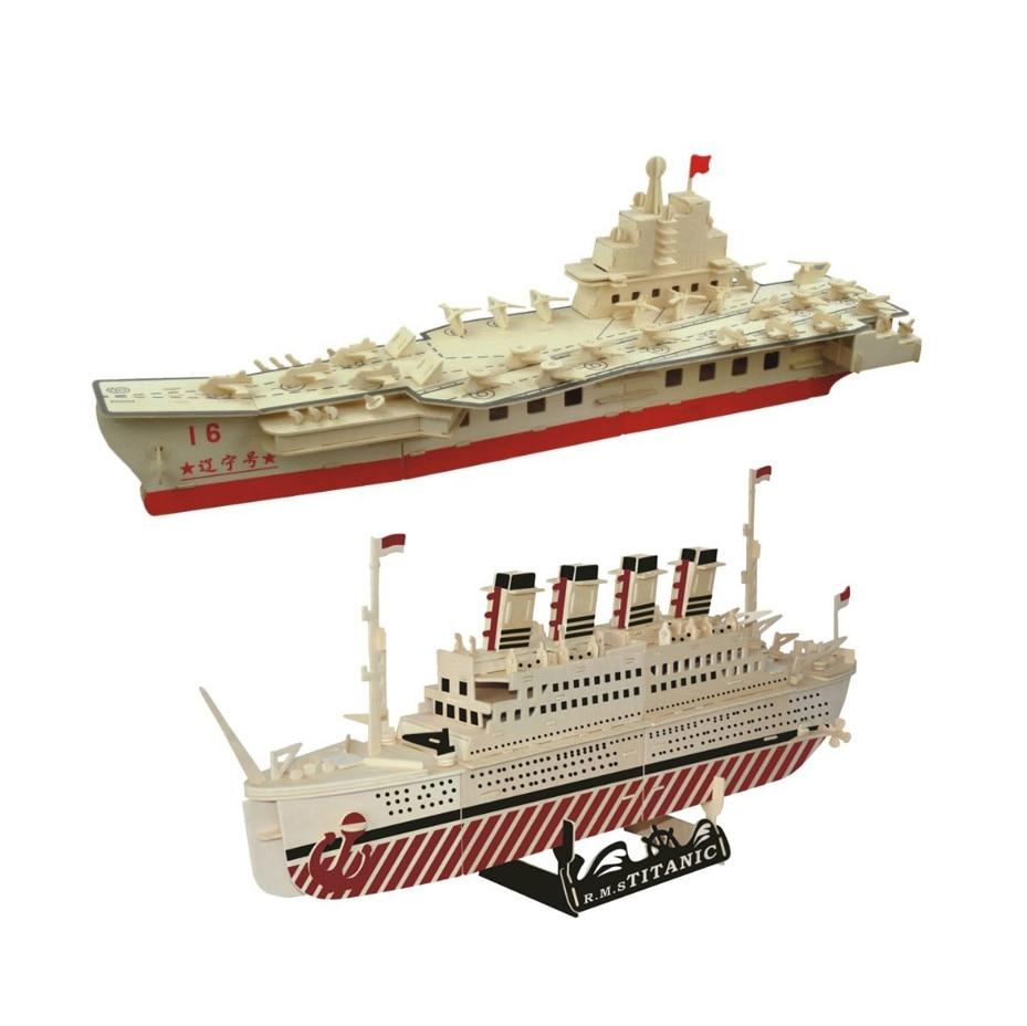 Chanycore bébé apprentissage jouets éducatifs en bois Puzzle 3D avion hélicoptère transporteur navires de guerre bateau de croisière enfants cadeaux 4302