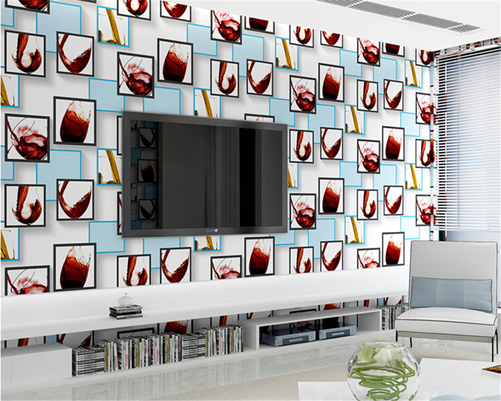 beibehang papel de parede Modern fashion red wine cup wallpaper smooth non woven wall paper living room wedding room wall behang beibehang wall paper pune girl room cartoon children s room bedroom shop for environmental non woven wallpaper ocean mermaid