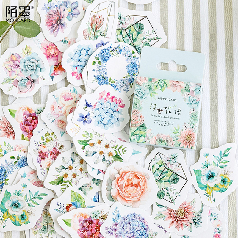 45 Pcs/lot Beautiful Flower Language Mini Paper Sticker Package DIY Diary Decoration Sticker Album Scrapbooking