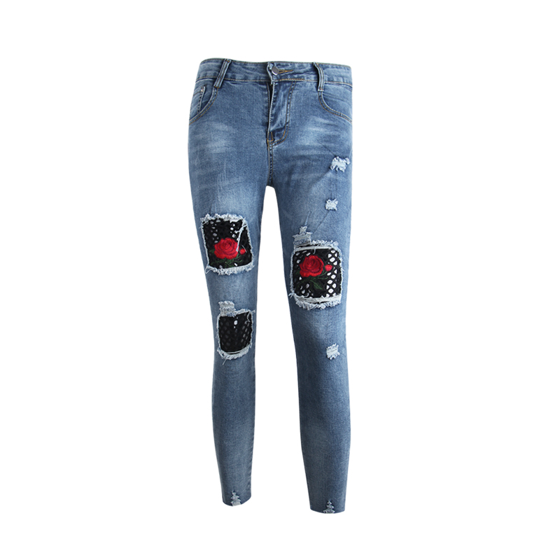 HeyGalSing Floral Embroidery Hole Ripped Jeans Woman Jeans For Girls Stretch Mid Waist  Femme Skinny Ankle-Length Pencil Pants