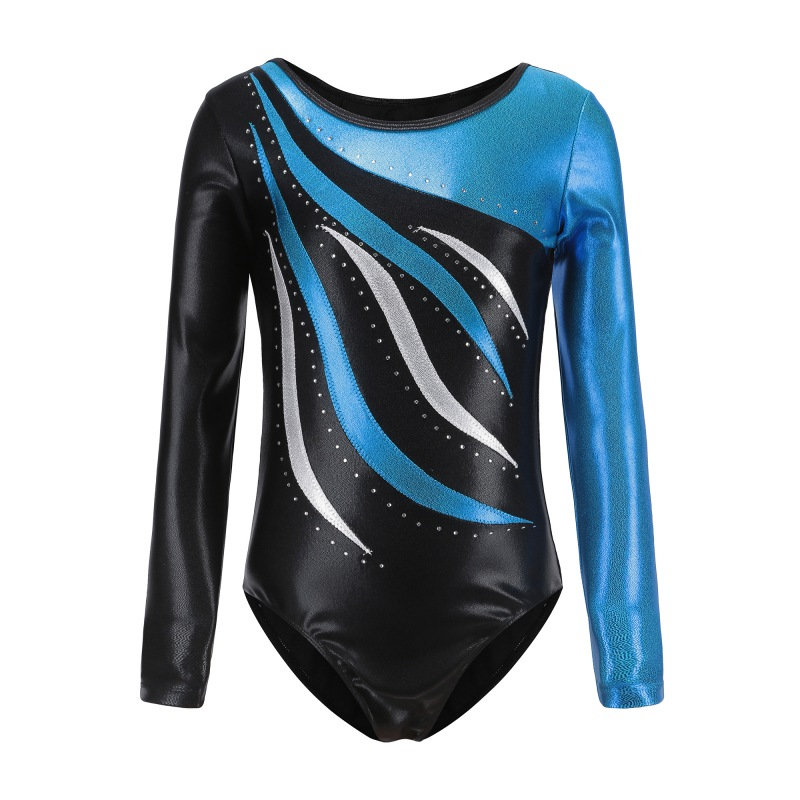 Long Sleeve Dance Leotards Gymnastics Dancesuit Child Girls Striped Costumes Gymnastic Leotards Ballet Suits