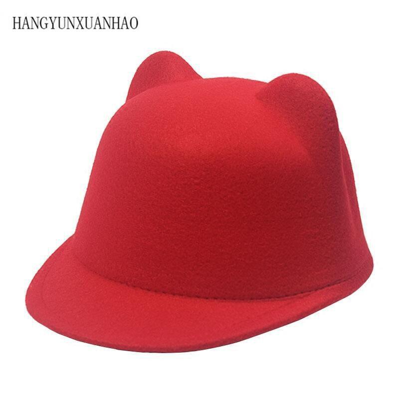 Plain Wool Felt Korean Cat Ears Equestrian Cap Parent-child Cap Flat Brim Horseman Trilby Hat For Men Women Children Boys Girls