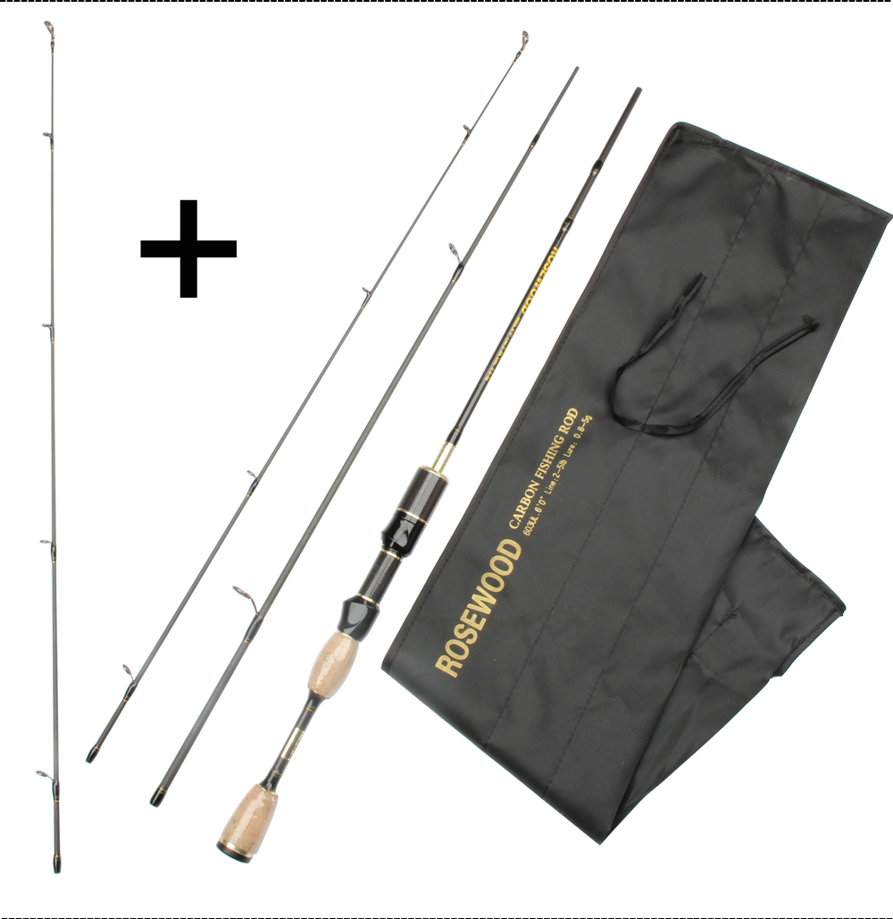 Cheap UL Casting Spinning Fishing Rod 1.8m Ultra Light Carbon Fiber Rods 2 Top Tips 3 Sections Lure Weight 0.8-5g Tackle Pesca  (12)