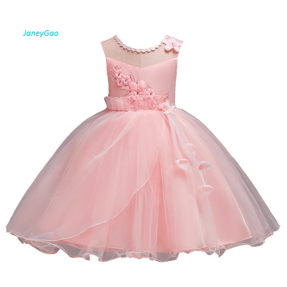 JaneyGao Flower Girl Dresses For Wedding Party Elegant Princess Formal Dress First Communion Pink 2018 New In Stock