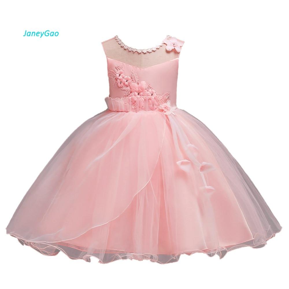 JaneyGao Flower Girl Dresses For Wedding Party Elegant Princess Girl Formal Dress First Communion Dress Pink 2018 New In Stock