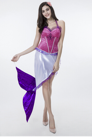 Free shipping pink purple mermaid cosplay fancy sexy DS nightclub performance  princess ariel costume party carnival halloween
