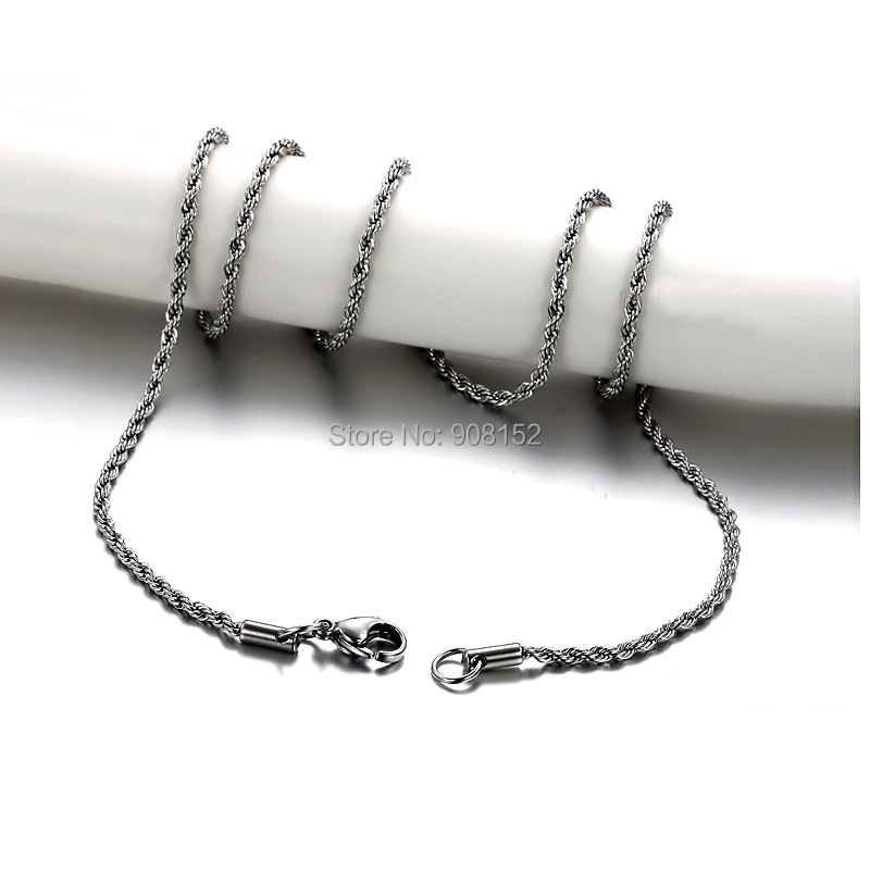 316L Stainless Steel Necklace, Titanium Steel Multiple Twisted Chain Necklace Wholesale by 20 pieces/pack trendy plus size zip up letter print slimming jeans for women