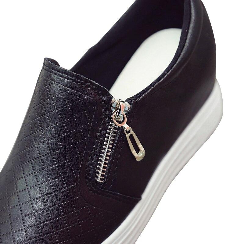 Señoras Zapatos Deslizamiento Mocasines Plana Respiración Cremallera De Las Mujer Plataforma Zapato Zapatillas Grapara Aumento Cuero blanco Casual Negro 6Fngxw1x