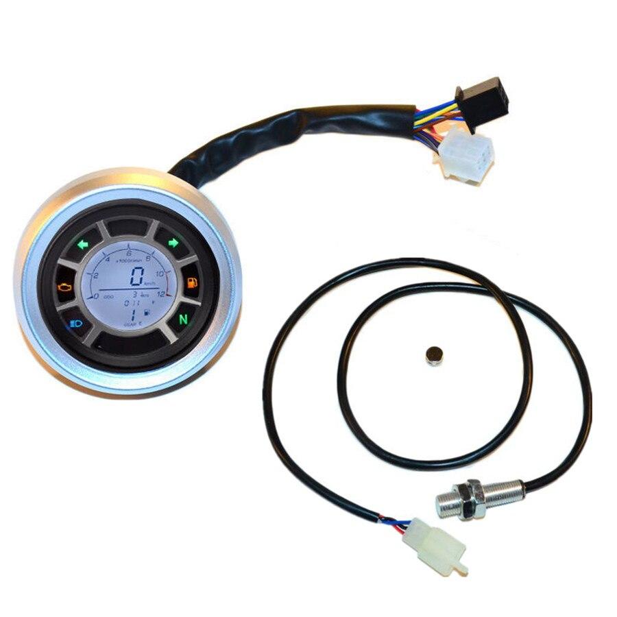 Мотоцикл инструмент Универсальный алюминий ЖК-цифровой спидометр тахометр одометр подсветки Датчик