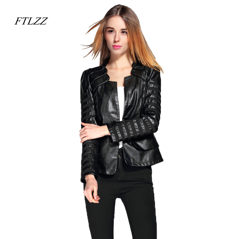 cce704766f88f FTLZZ Spring Autumn PU Leather Jacket Women Plus Size 4XL Motorcycle Jacket  Faux Leather Red Biker Coat Patchwork Soft Outwear-in Leather   Suede from  ...