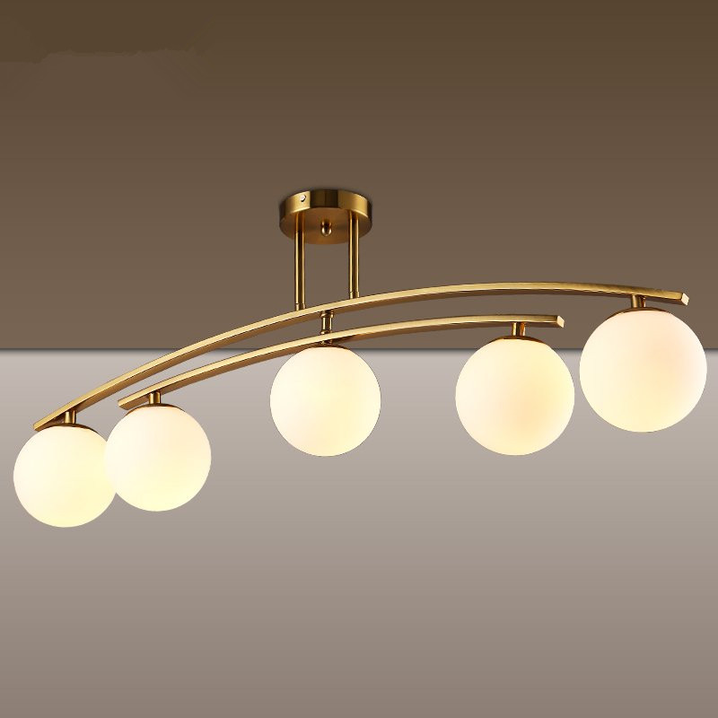 Lightings: Rotatable Post Modern LED Pendant Light Glass Ball Hanging