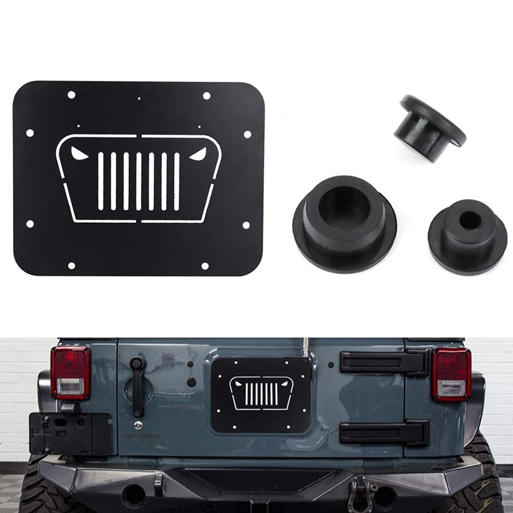 Fits For Jeep Wrangler Spare Tire Delete Plate & Tailgate Body Plugs for JK JKU 2007 to 2017  2008 2009 2010 2012 2014 2015 2016-in License Plate from Automobiles & Motorcycles    1