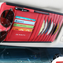 Toyota auto origizer vehicel 용 bmw sun visor dvd bag 용 카드 선글라스 홀더가있는 자동차 인테리어 보관 용 cd/dvd 지갑