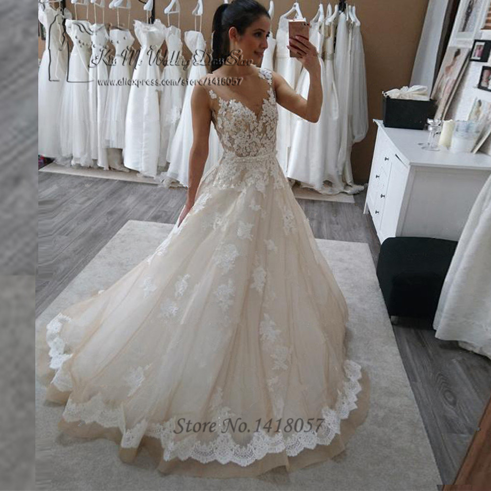 Champagne Color Wedding Dresses Vestidos De Noiva 2017: Vestido De Noiva Real Champagne Vintage Wedding Dress