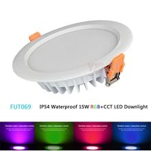 FUT069 IP54 Waterproof Miboxer 15W 2.4G RGB+CCT LED Downlight  Dimmable AC86-265V Round Reccessed Light B8 FUT092 remote milight ac110v 220v 15w ip54 waterproof rgb cct led downlight dimmable ac86 265v round reccessed light fut069 2 4g