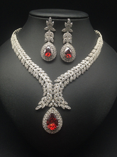 2016 NEW FASHION,Retro v style romantic red zircon bride necklace earring set,wedding bride party dress banquet jewelry