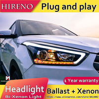 Hireno Headlamp For 2015 2017 Hyundai IX25 Headlight Assembly LED DRL Angel Lens Double Beam HID