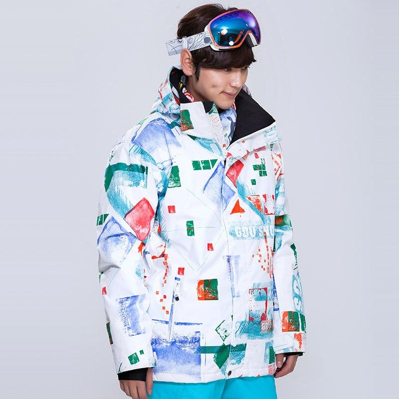 Prix pour F ree expédition Nouveaux hommes de plein air ski costume blanc logo sport veste de ski hommes coupe-vent imperméable double plaque chaud épaississement manteau