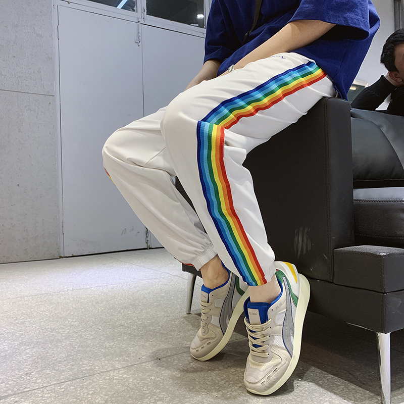 Summer New Track Pants Men Fashion Color Striped Casual Trousers Man Streetwear Wild Hip Hop Loose Joggers Sweatpants M-2XL(China)
