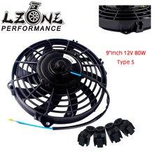 LZONE - 9 pulgadas Universal 12V 80W Delgado radiador eléctrico Reversible AUTO ventilador Push Pull con kit de montaje tipo S 9