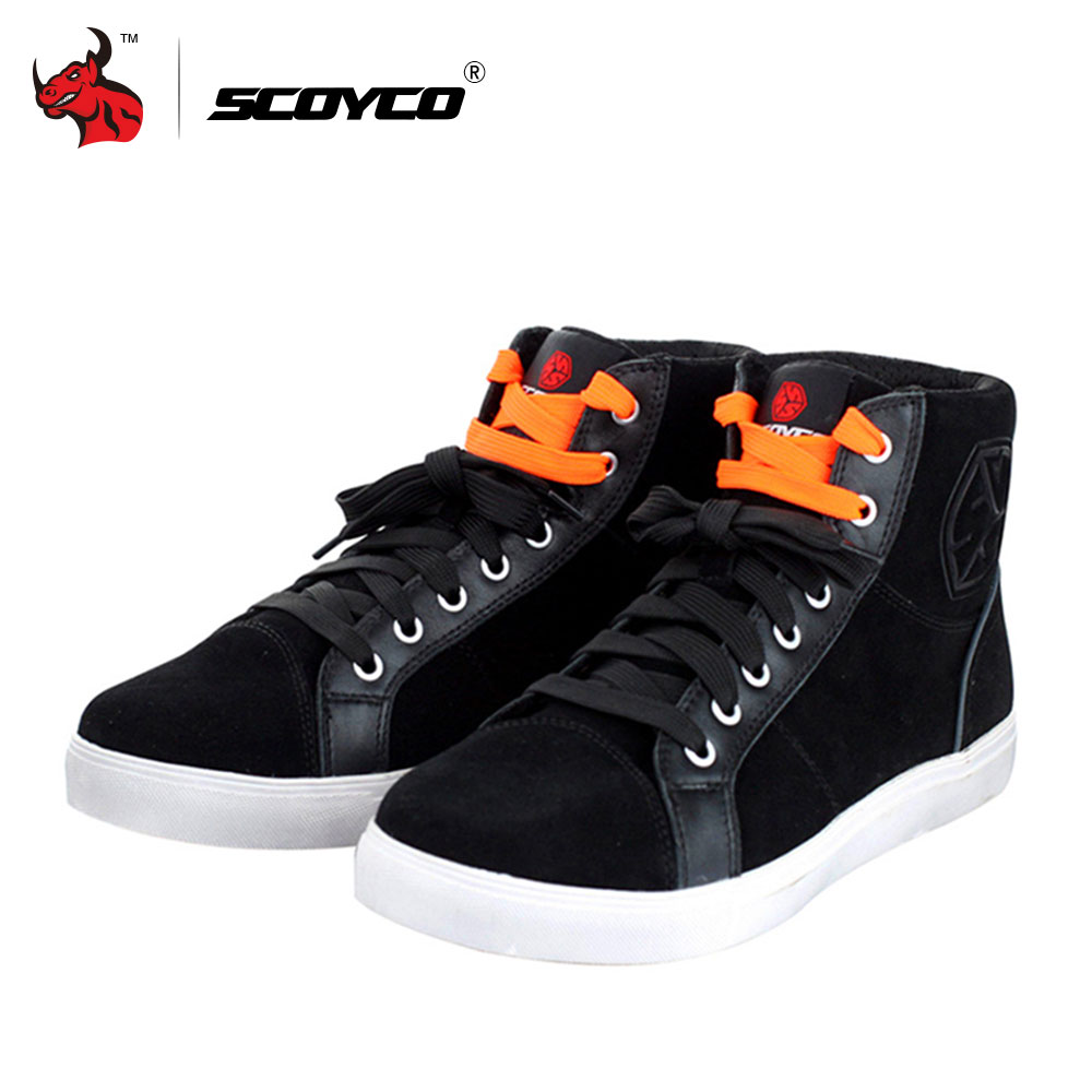 SCOYCO Fashion Casual Wear Motorbike Riding Shoes Brushed Leather Motorcycle Boots Street Racing Boots Breathable Biker Boots scoyco motorcycle riding knee protector extreme sports knee pads bycle cycling bike racing tactal skate protective ear