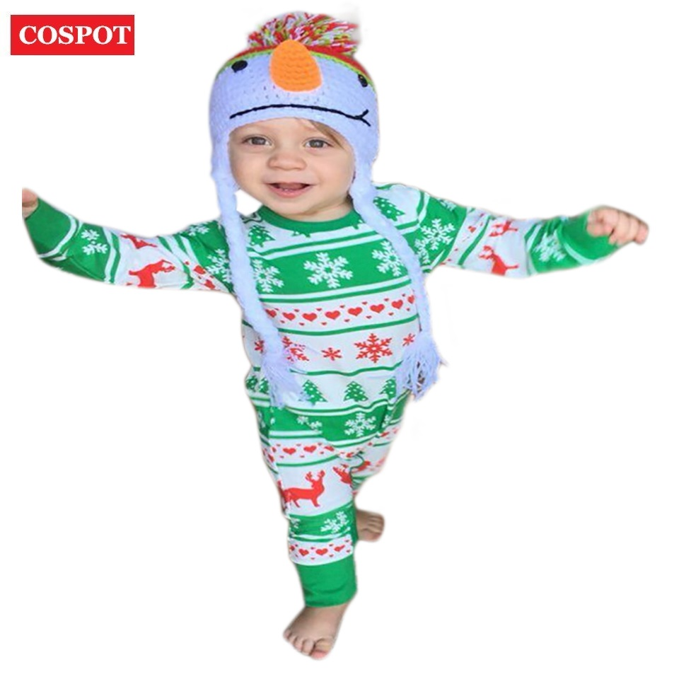 COSPOT Baby Girls Boys Christmas Reindeer Romper Newborn Autumn Cotton Pajamas Toddler Xmas Jumpsuit 2017 New Arrival 40D puseky 2017 infant romper baby boys girls jumpsuit newborn bebe clothing hooded toddler baby clothes cute panda romper costumes