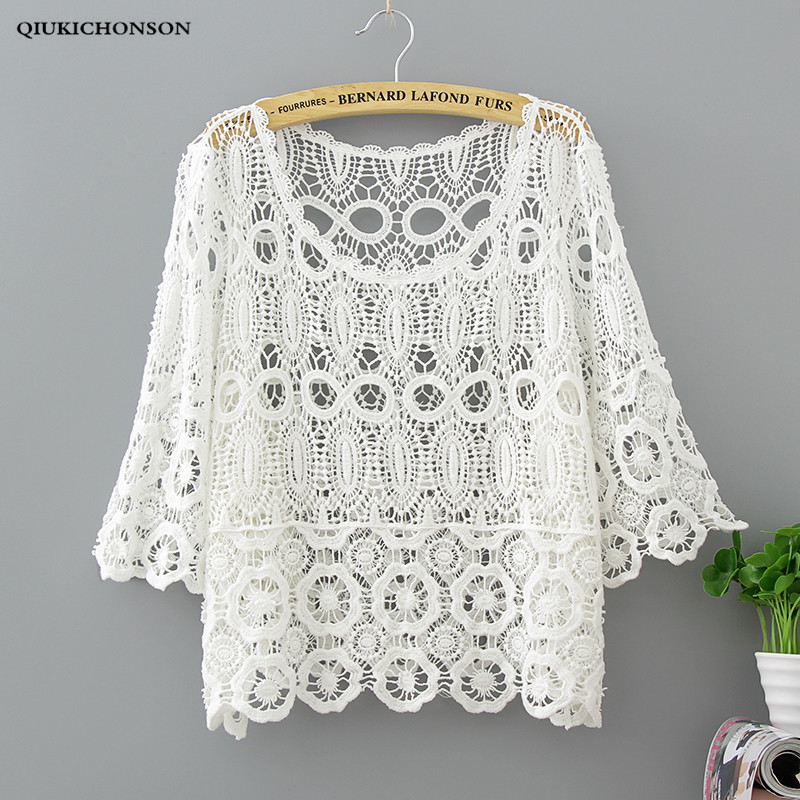 Women's Clothing Enthusiastic Qiukichonson White Lace Blouse Short Sleeve Women Summer Tops Ladies Cute Hollow Out Crochet Bikini Cover Up Sunproof Cardigan