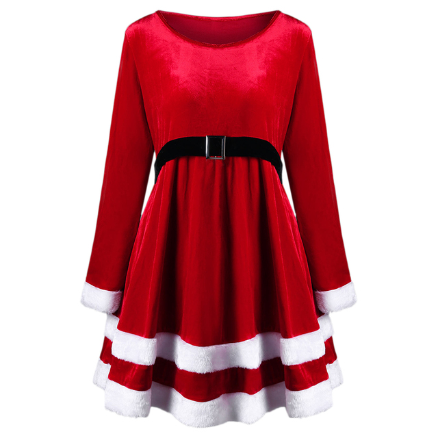 wipalo new plus size vintage christmas dress women long sleeve warm winter dress red velvet mini