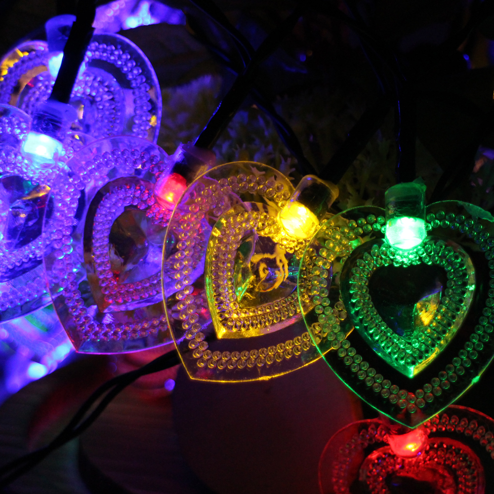 6m 30led Loving Heart Battery Powered LED String Lights Waterproof Christmas Fairy Light Wedding Party Garden Holiday Decoration