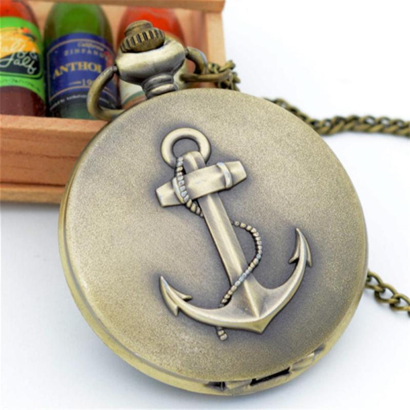 Boat Pattern Pocket Watch Retro Bronze Clamshell Sweater Chain