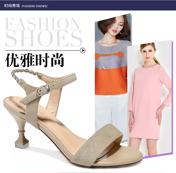 2018 new arrive Guciheaven women sandals summer top quality elegant buckle hoof square heel size 34
