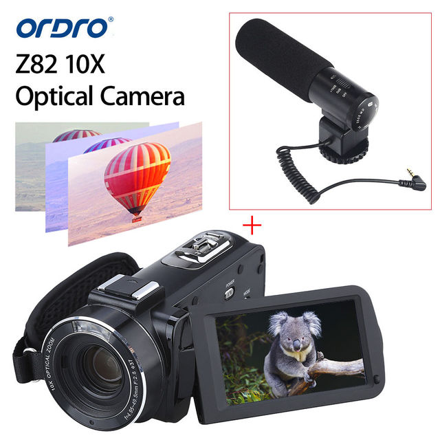 """ORDRO HDV-Z82 10X Optical Full 3.0"""" Touch Screen HD Camcorder Hot Shoe Camera 24MP HDMI TFT LCD + Microphone"""