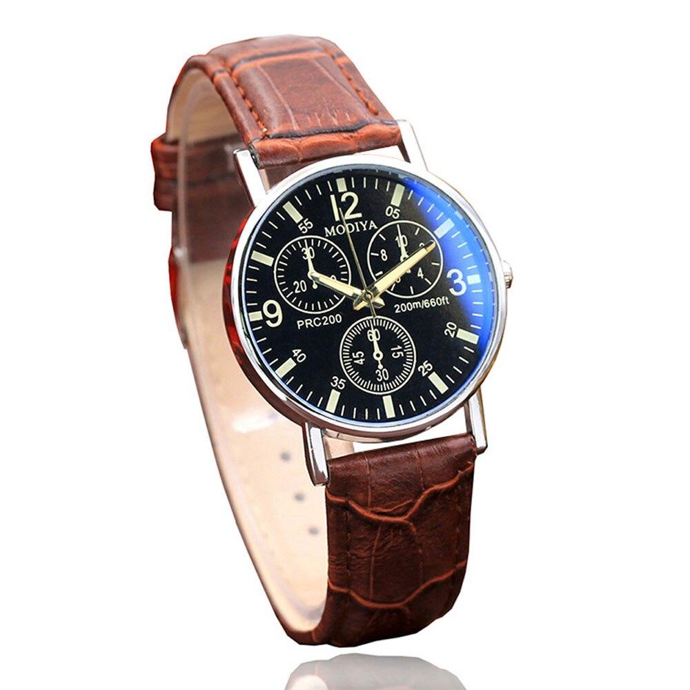 Fashion Men's Belt Watch Simple Three-eye Digital Dial Blue Glass Belt Men's Quartz Wrist Watch Montre Homme 2018 De Luxe  A70
