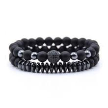 2 Pc/sets Natuursteen Armband Mannen Micro Pave Cz Ball Bedels Kralen Armbanden Voor Vrouwen Sieraden Dropshipping