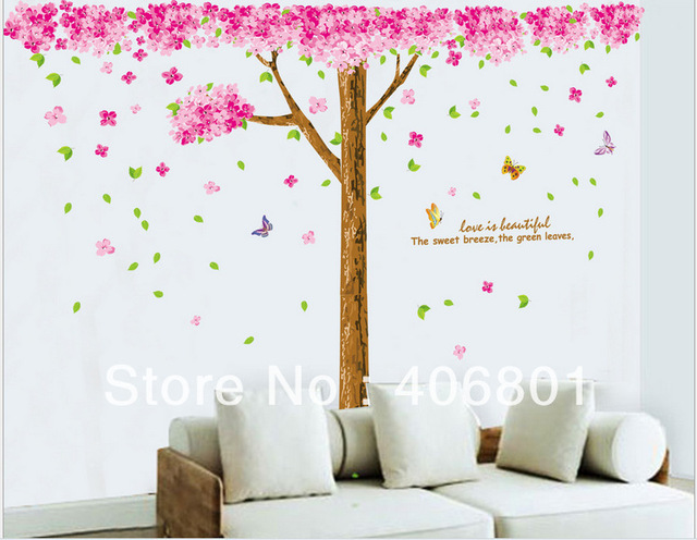 Large 210 X225cm Pink Cherry Blossom Tree Wall Decals Pvc Removable Art Home Stickers Kids