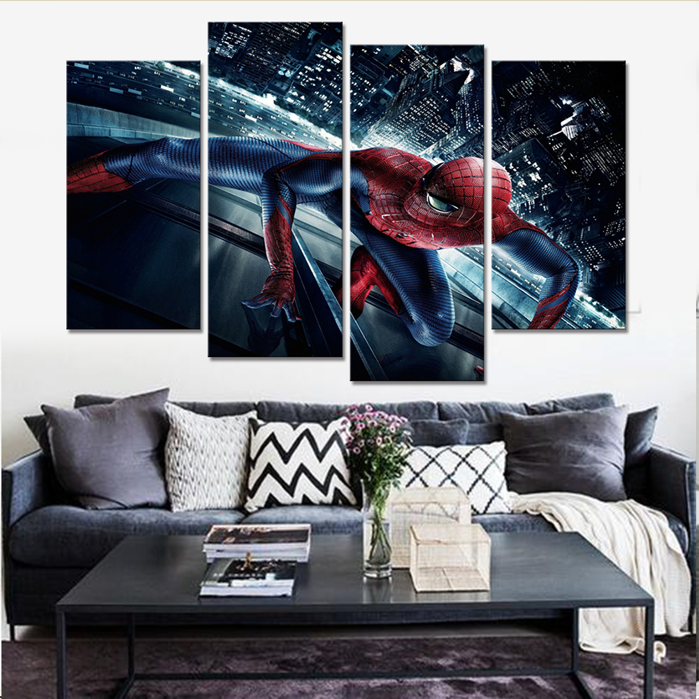 4 Pieces Cartoon Characters Wall Decor Living Room Pictures Spiderman Painting on Canvas Home Decoration Accessories Frameless image