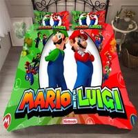 HELENGILI 3D Bedding Set Mario Print Duvet Cover Set Bedcloth with Pillowcase Bed Set Home Textiles #MLA 19