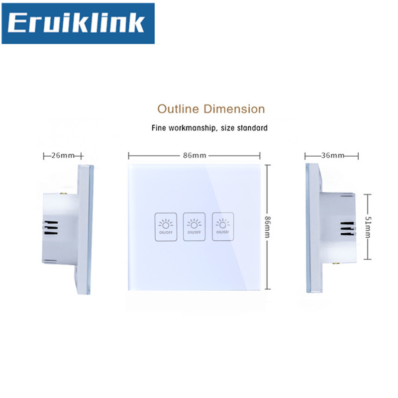 EU UK Standard Light Switch White Black Gold Crystal Glass Panel 1 Gang 1 Way 220V RF433 Remote Control Wall Touch Switch in Switches from Lights Lighting