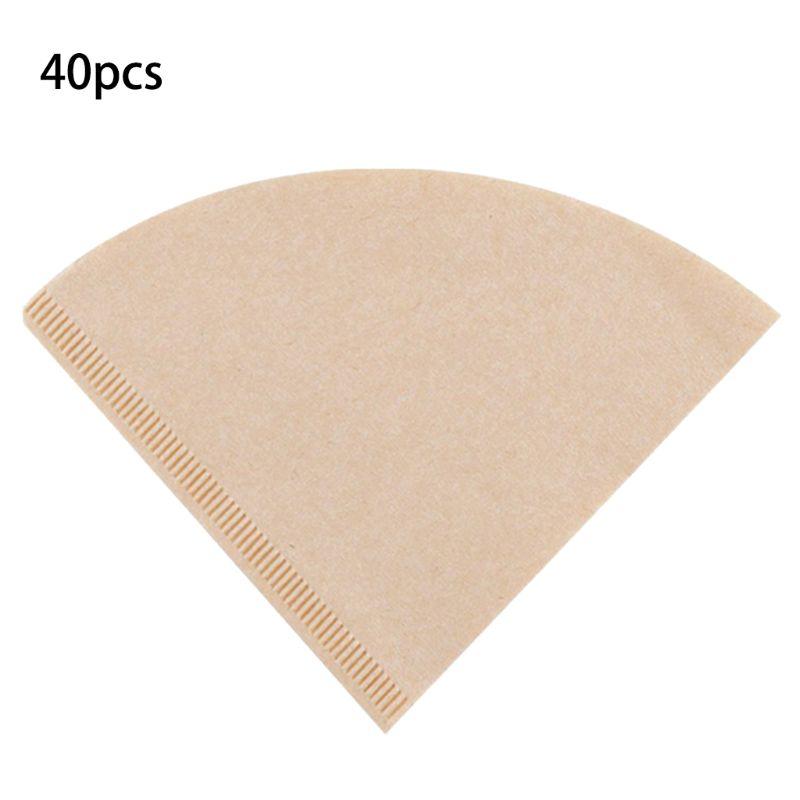 40 шт. кофейные фильтровальные бумаги неотбеленные оригинальные деревянные капельные бумажные конусные инструменты для кофе